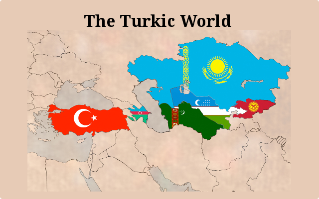 A map featuring Turkic nations.