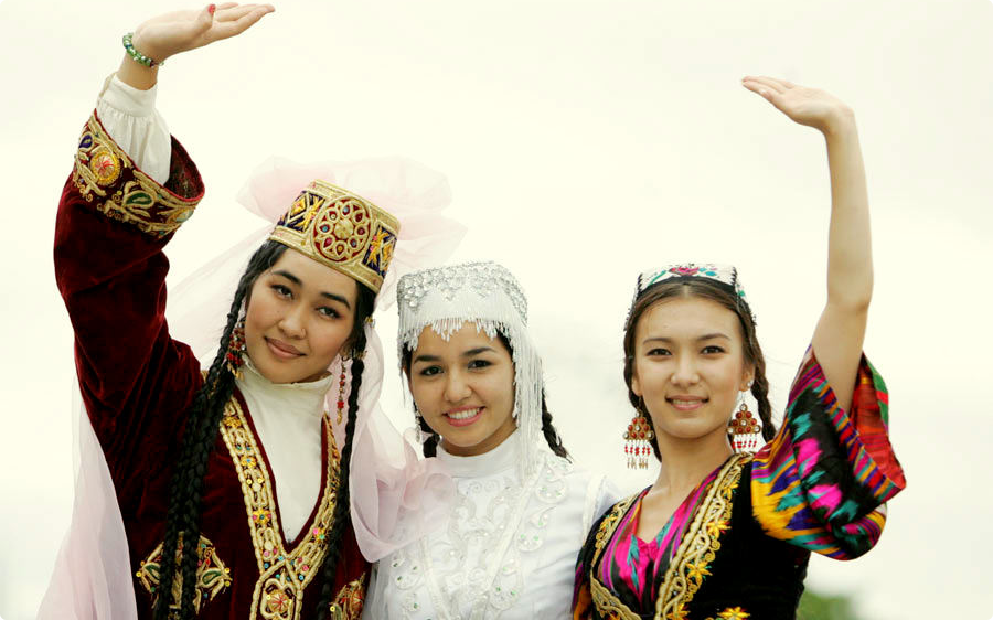 Uzbek girls in tradtional outfits.